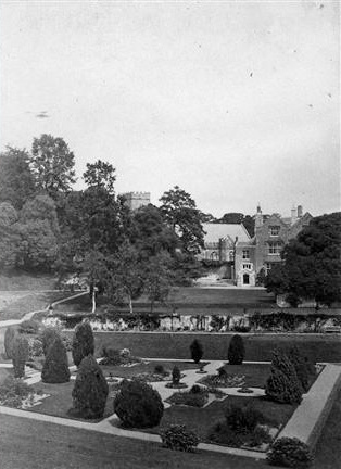 19thC drawings revealed that the Tiltyard had been a lily pond making full use of the nearby water springs. (source: Dartington archive)