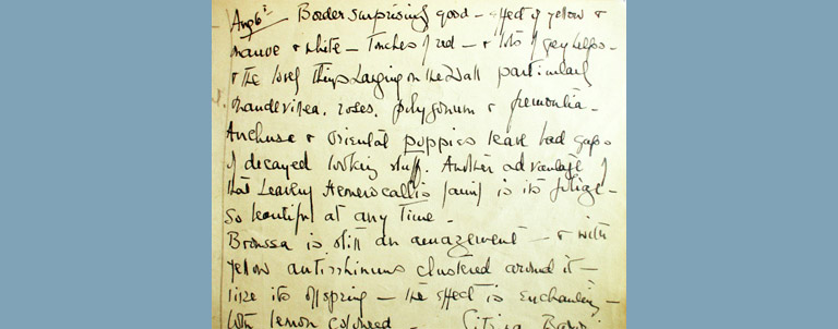 1943 extract from Dorothy Elmhirst's garden notes
