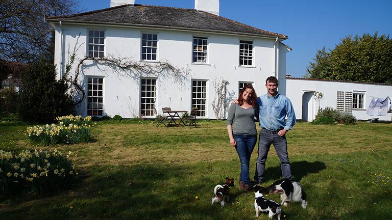 Jon and Lynne Perkin outside Old Parsonage Farm