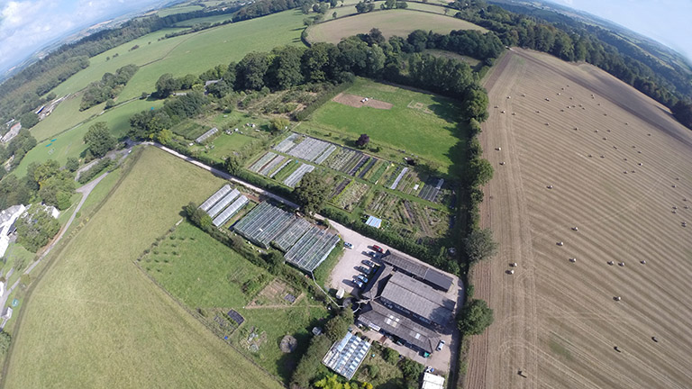 Aerial image of School Farm CSA, tenant on the Dartington estate and source of ingredients for the White Hart restaurant