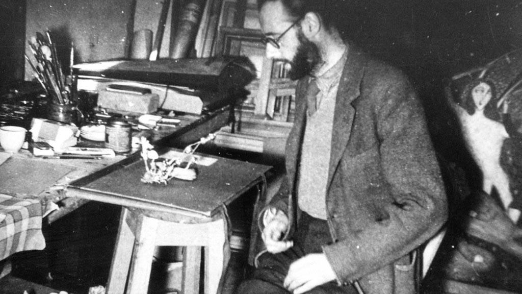 Cecil Collins in his studio. Photo: The Dartington Hall Trust archive