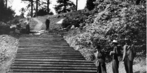 Construction of Percy Cane's steps , Photo, The Dartington Hall Trust Archive