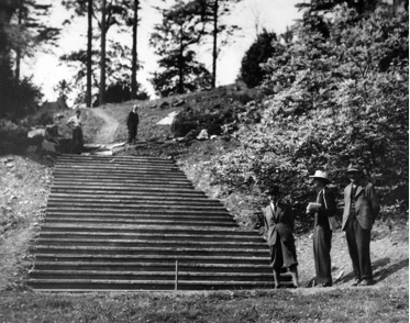 Construction of Percy Cane's steps. L-R: Percy Cane, Dorothy Elmhirst, Johnny Johnson