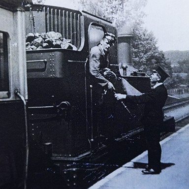 Mary's father, Mr S J Yendell (right) greets a train driver