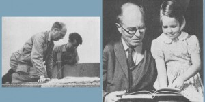 Ornithologist David Lack at the International Ornithological Congress, 1962 (left) and with daughter Catherine in 1965 (right).Images via biologos.org