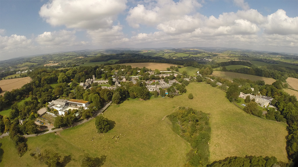 Dartington aerial shot taken above Lower Drive