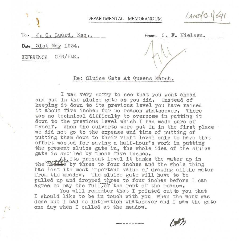 Sluice gate complaint letter