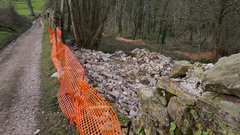 A couple of gaps to fill: image showing one of the collapsed wall sections