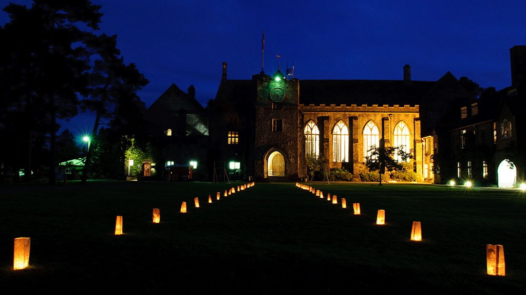 great hall at night