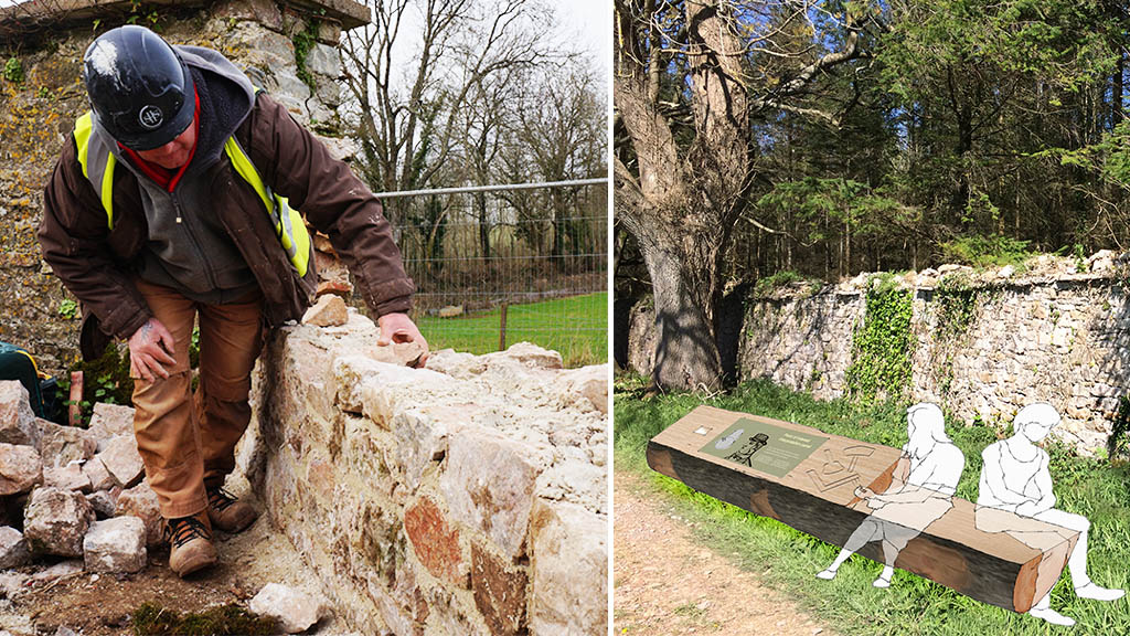 L: A worker inspects a portion of the Deer Park Wall ahead of prelimary repairs and R: Potential design for an 'interactive point of interest' area at the Deer Park Wall