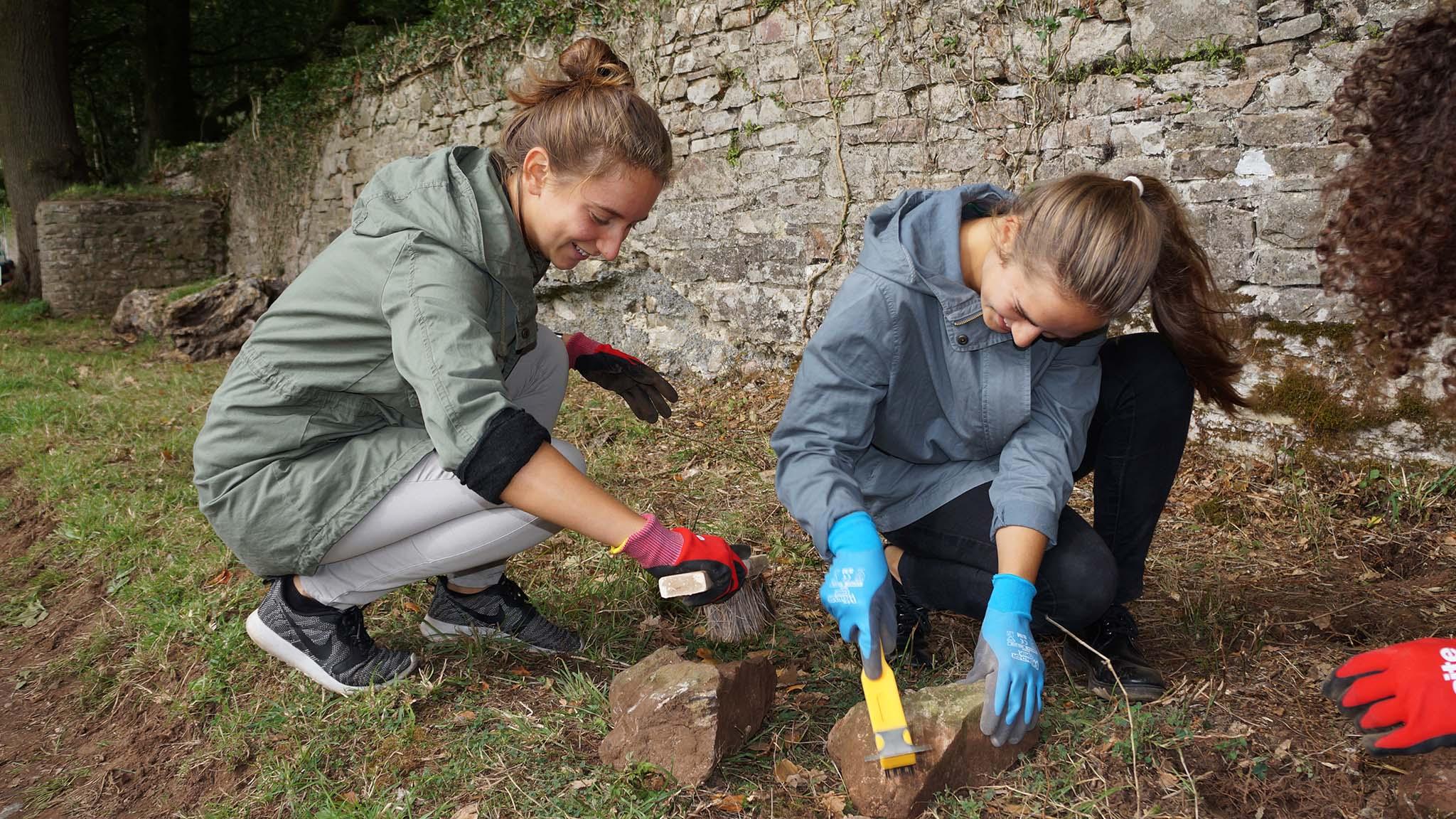 Volunteers from the Language of Totnes School help clear and clean Deer Park wall rubble