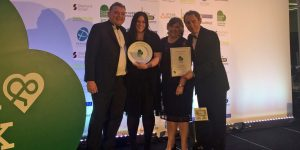 The Food Shop team accept their winners award at the Food and Drink Devon awards from the BBC's Nigel Barden (right)