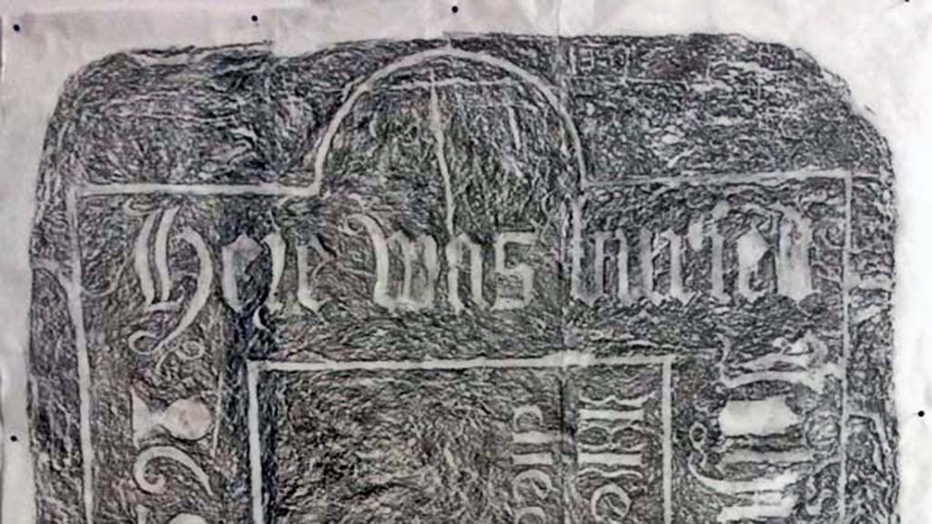Volunteer Martin Broadbent's completed gravestone rubbing from the ledger stone