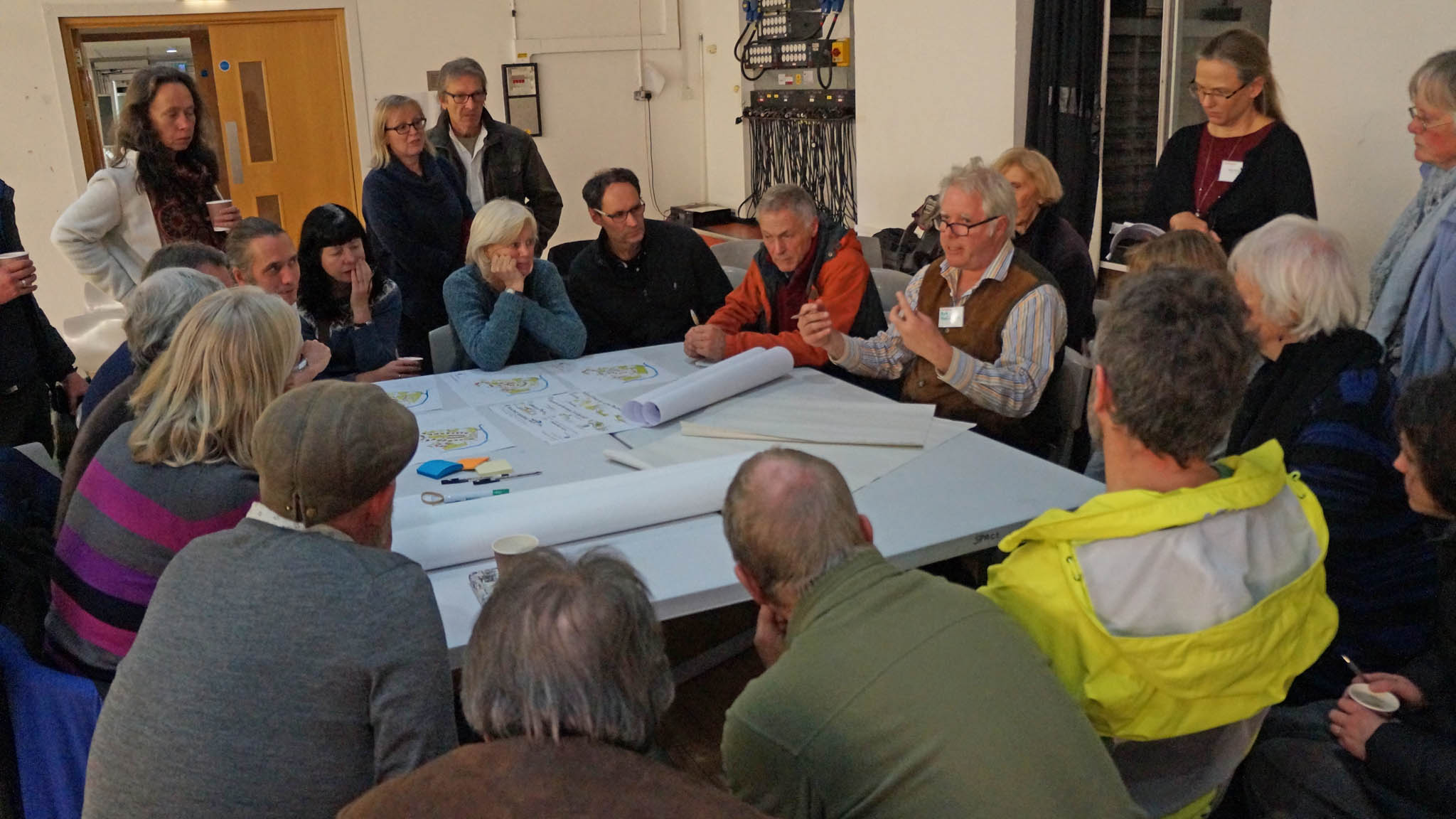 Bob Tomlinson and potential self builders discuss the issues at a community consultation workshop in November 2016