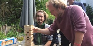 Jordan (left) enjoys some Jenga with volunteer Neil and Conservation Officer Mike