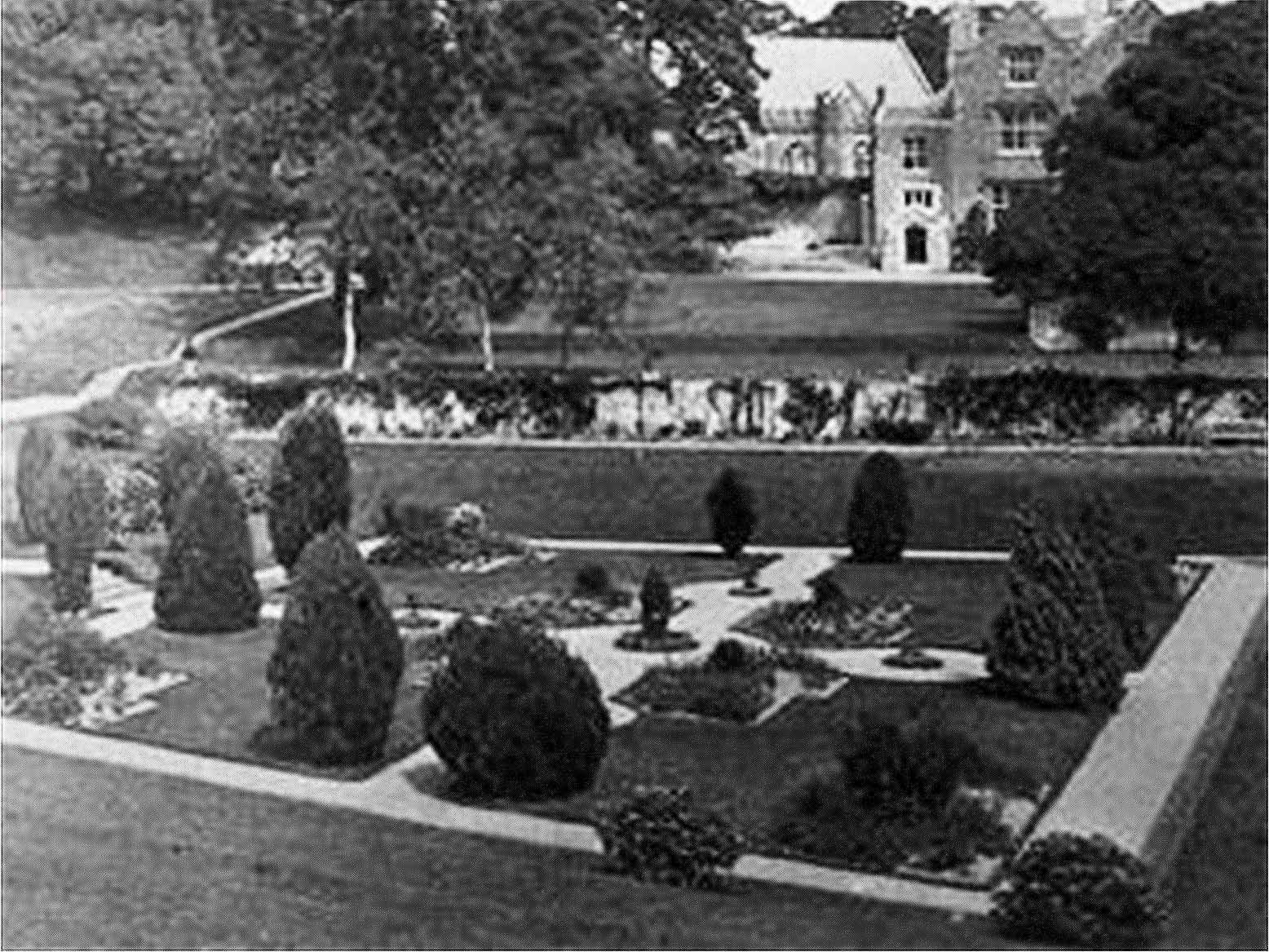Dartington Hall's Tiltyard as Dutch Garden, date unknown
