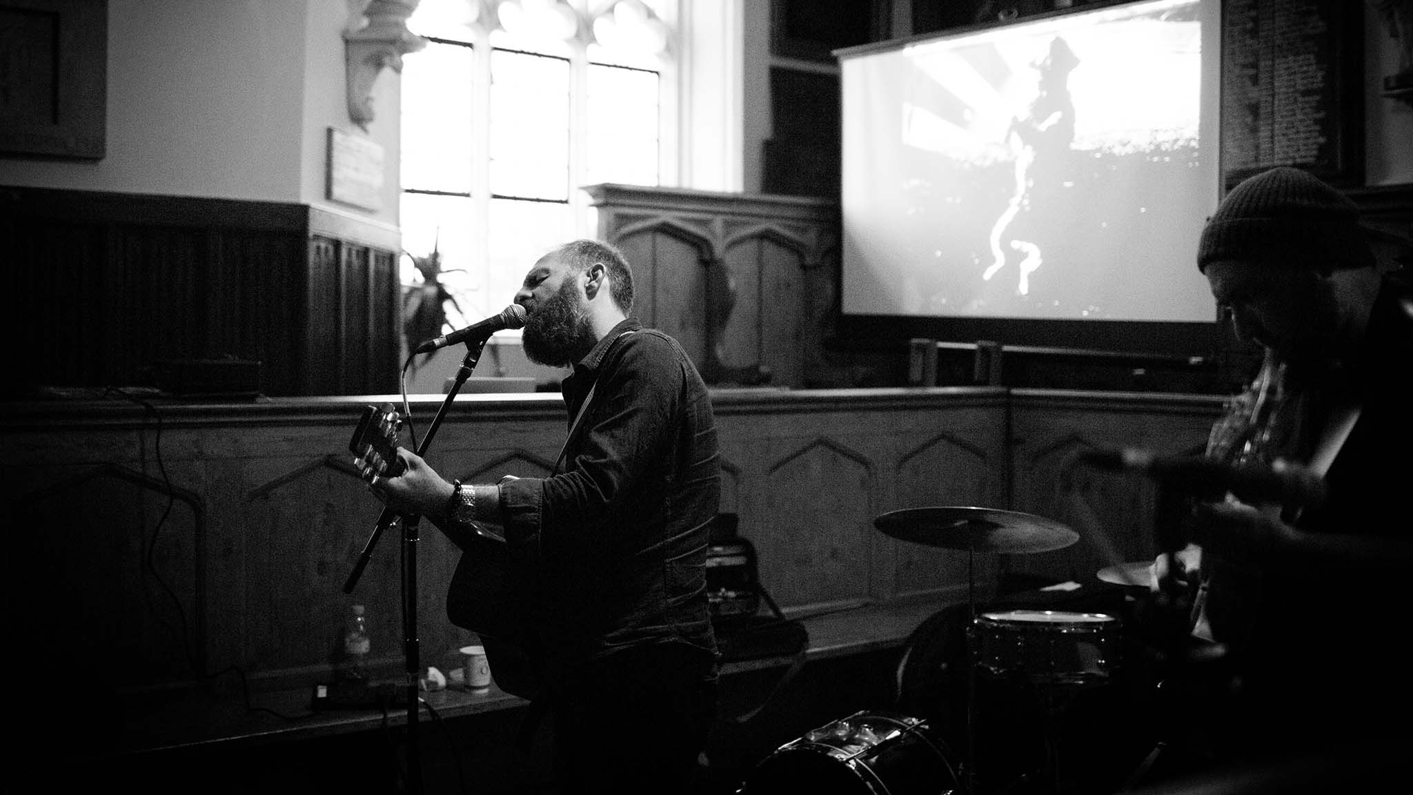 John Mathias performs in Totnes Guildhall and Party in the Town. (c) Sarah Lauren Photography