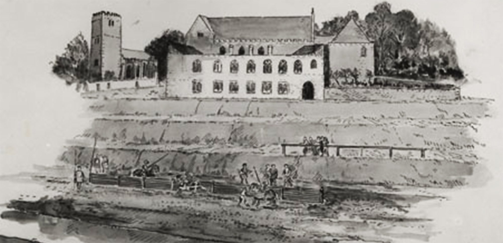 Artist's impression of tiltyard, made in the 1300s