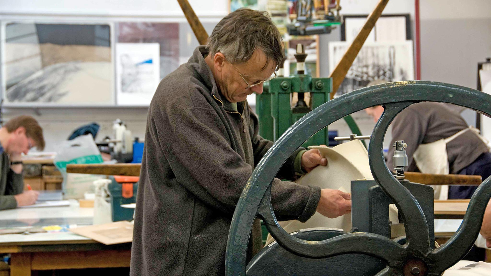 Michael Honnor in his printmaking studio