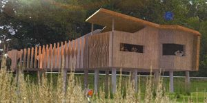 Winning Soundscape bird hide design for Queens Marsh