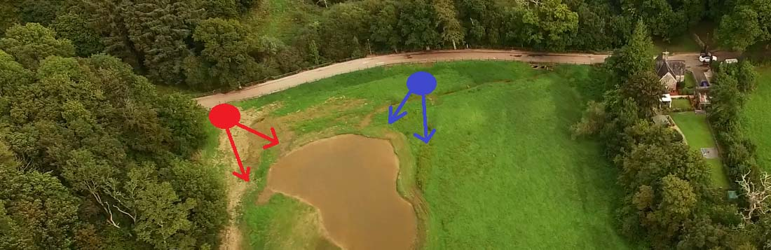 The bird hide location will be moving from the red dot (L) to the blue dot (R)