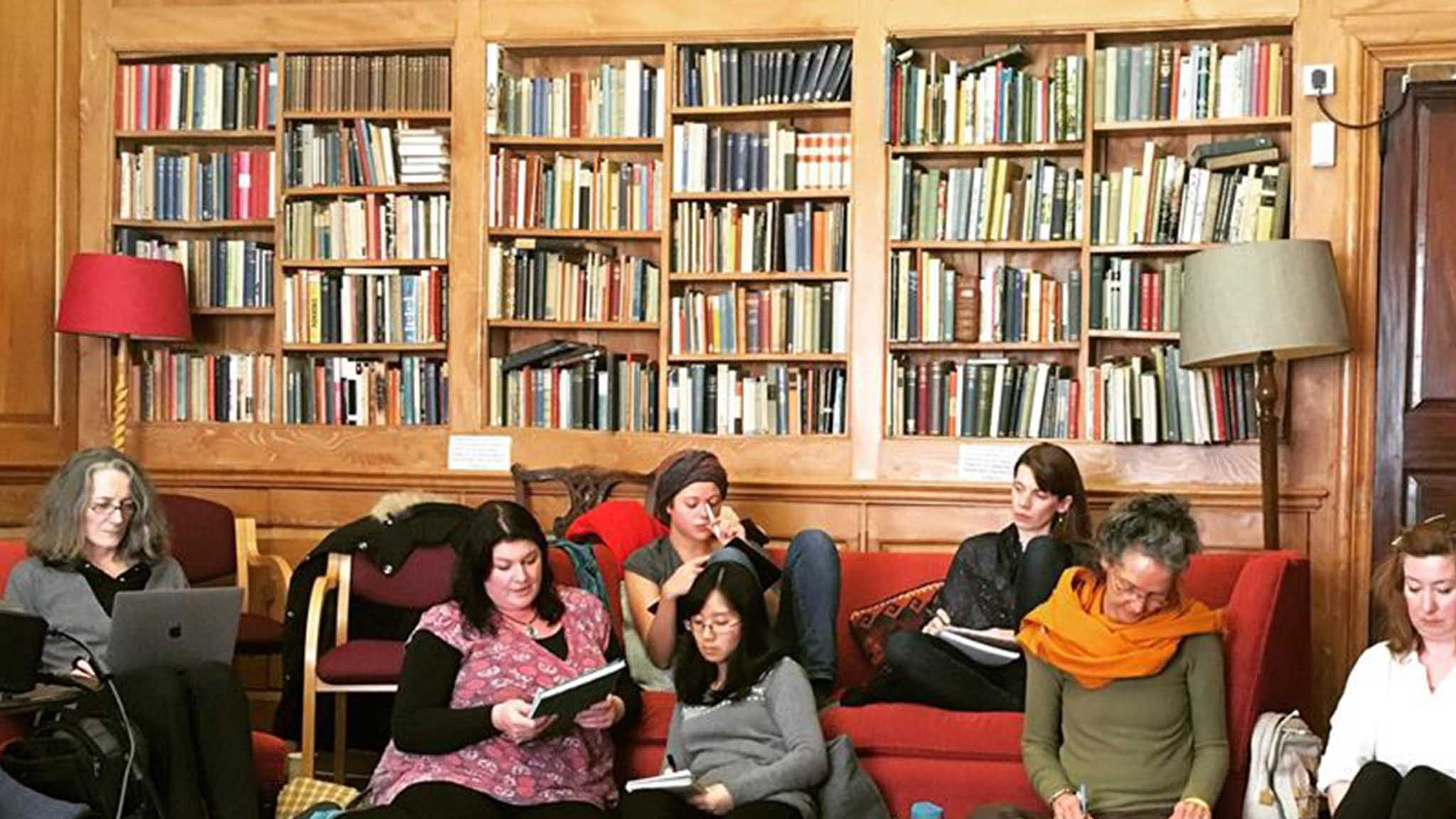 schumacher students in library