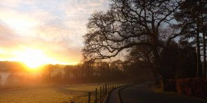 wintry upper drive and sunrise