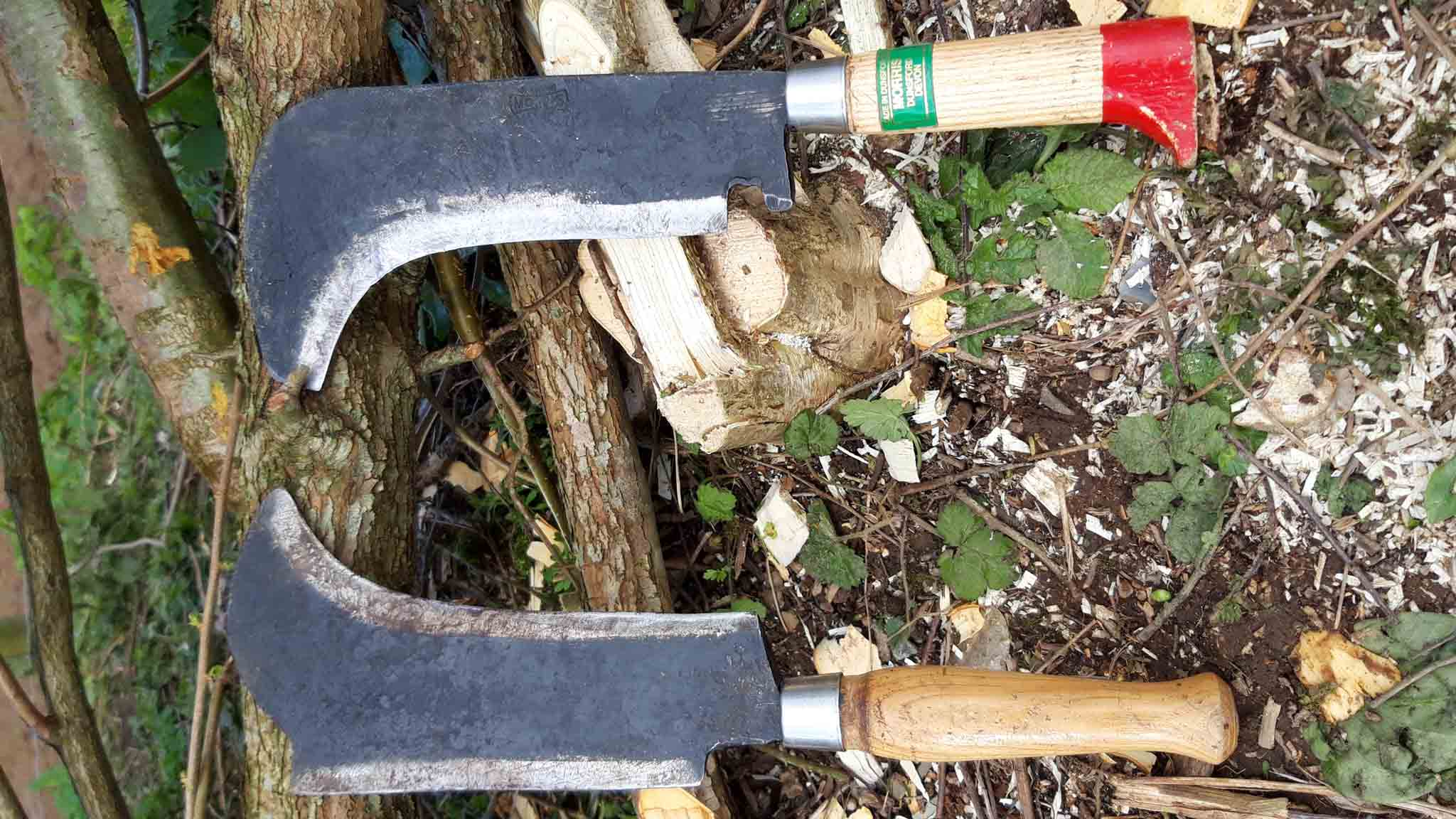 Tools used in hedge laying process. Credit: Vicky Churchhill