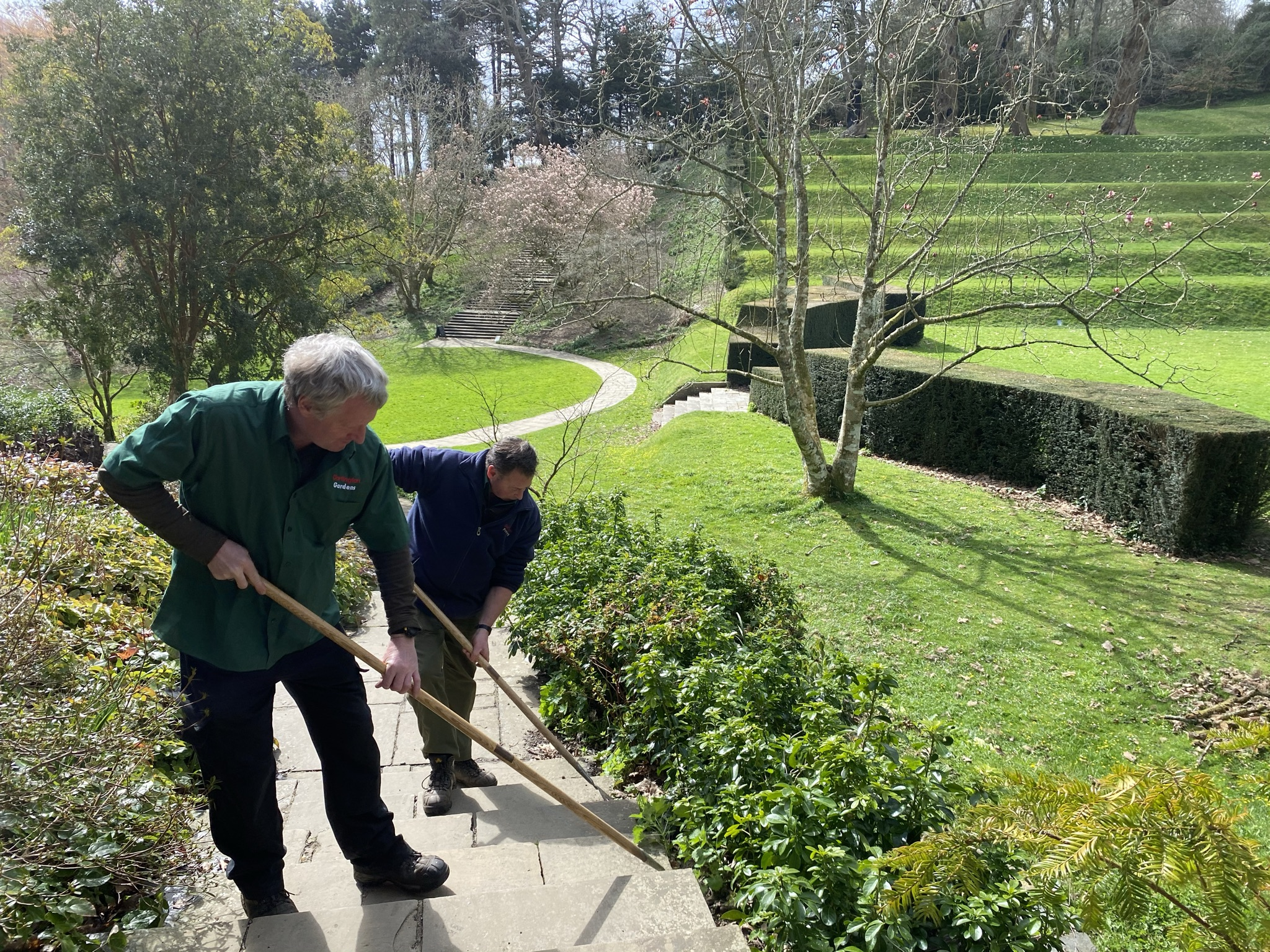 Mike and fellow gardener Richard Hunt at work in the Gardens