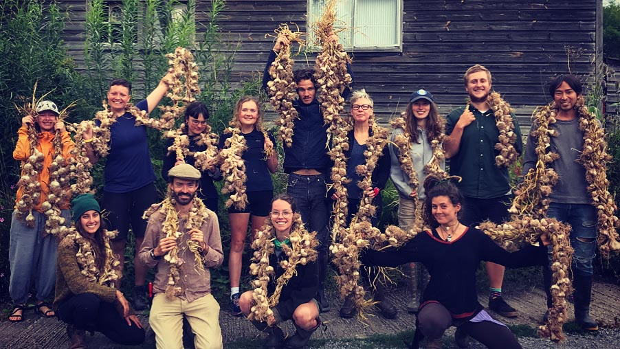 sustainable horticulture students with garlic
